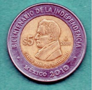 Moneda Cinco Conmemorativa Carlos María De Bustamante 2