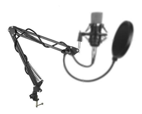 Pedestal Suporte Mesa Articulado Microfone Studio Rádio