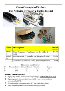 Caño Corrugado Acero Inox Flex 1¨ Epdm+ 2 Cables Senal (x M)