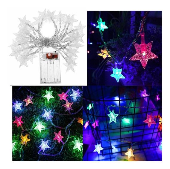 Guirnalda 28 Luces Led Estrella Multicolor Rgb 5 Mts A Pila
