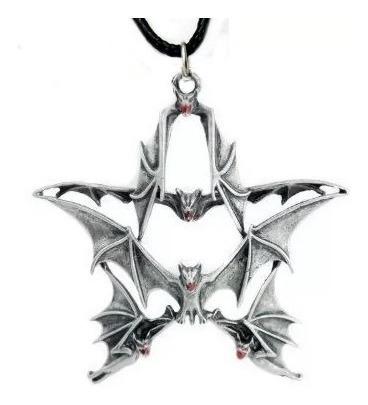 Colar Pentagrama De Morcegos Pingente