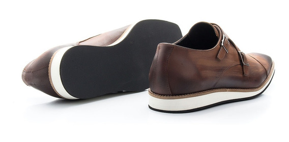 Sapato Social Com Fivela Diferenciada Em Couro Legítimo