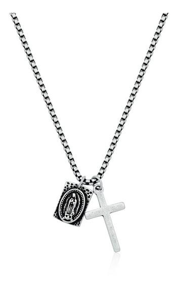 Corrente Medalha Nossa Senhora Com Crucifixo Liso Em Aço