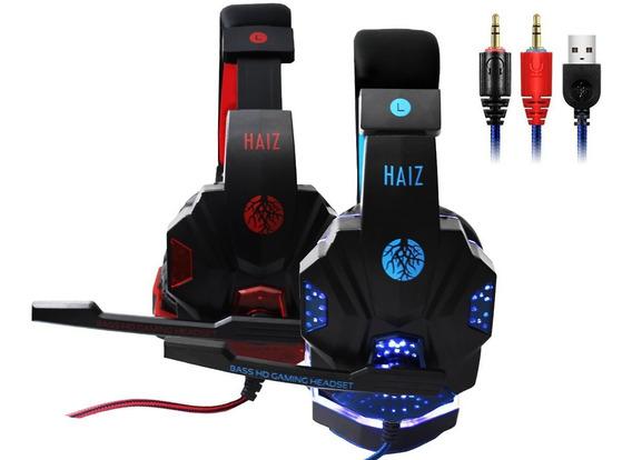 Headphone Gamer Luz Led Deneb 1802 C/fio Corda E Microfone