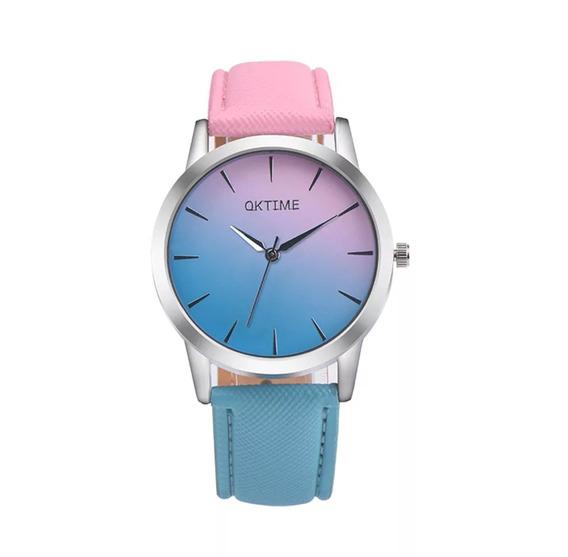 Relógio De Pulso Rosa E Azul - Envio Imediato