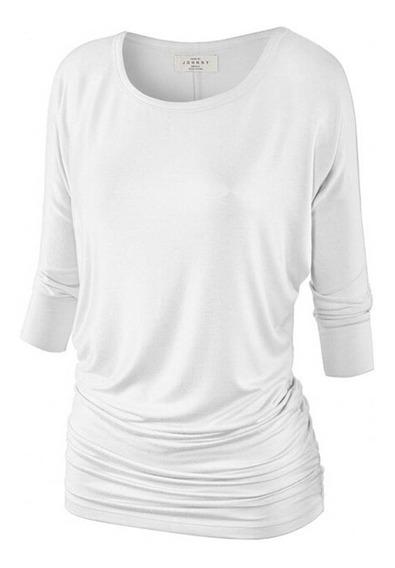 Camiseta Feminina De Moda Gola Redonda Com Três Quartos De