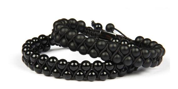 Pulseras Para Hombre Mujer De Moda Ajustable Onix Negro