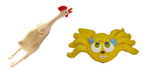 Kit 2 Brinquedos Látex Cachorro Franguinho E Aranha Amarela