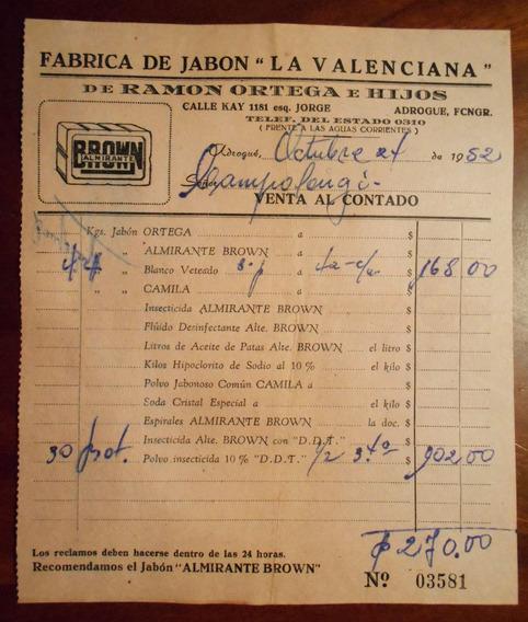 Boleta Antigua Fabrica De Jabon La Valenciana Adrogue 1952