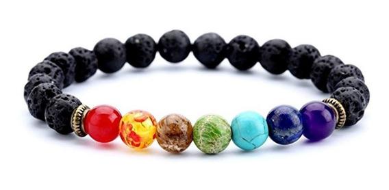 Pulseira 7 Chakras Com Pedras Vulcânicas E Preciosas