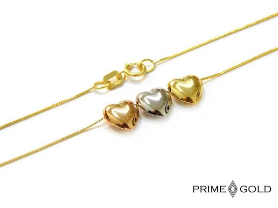 Corrente Cordão Com Corações 3 Cores Em Ouro 18k 40cm