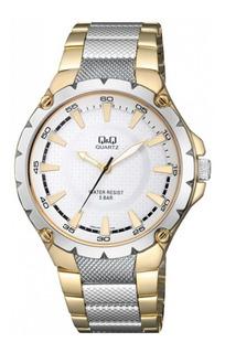 Reloj Hombre Qyq Citizen Q960j401 Sumergible 50 Mts Acero Inoxidable Dorado Y Platino Garantia 1 Año