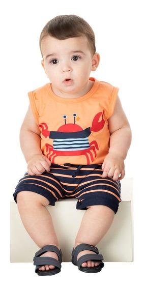 Roupa Bebê Menino Conjunto Camiseta Machão E Bermuda Verão