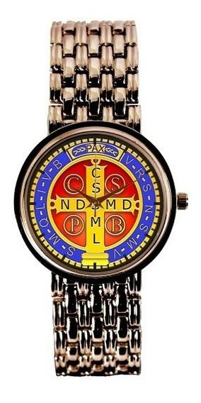Medalha De São Bento Relógio Personaliz Feminino Cobre 3330