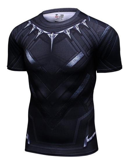 Camisa Compresion Marvel Avengers Endgame Black Panther Playera Hombre Manga Corta Licra Crossfit Gym Rashguard