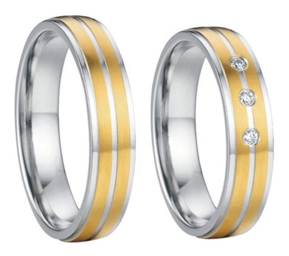 Alianças Tungstênio 5mm Banhadas Ouro 18k Dourado Prateada