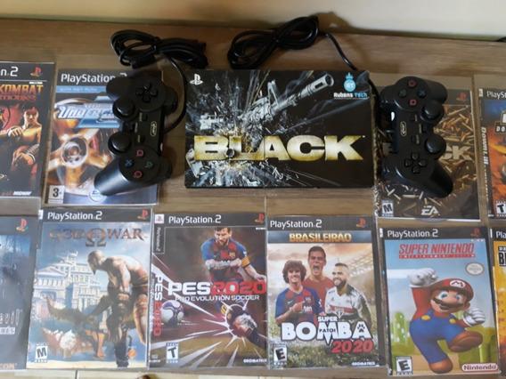 Playstation 2 Original Leitor Novo Ps2+ 2controles+5 Jogos