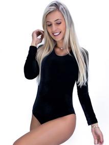 Body Feminino Manga Longa Veludo Collant Costa Fechada