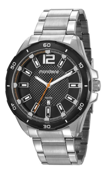 Relógio Calendário Visor Texturizado Prata - 53704gpmvce2