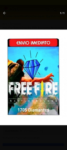 Imagem 1 de 1 de Free Fire Garena Freefire 1705 Diamantes Recarga Na Conta