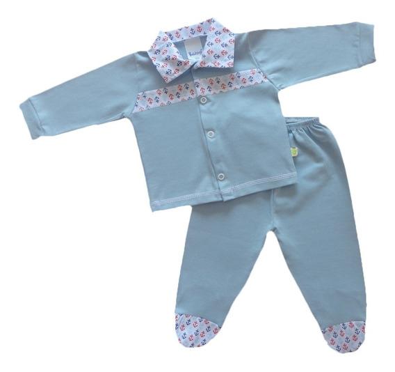 Conjunto Maternidade Bebê Menino 100% Algodão Com Gola
