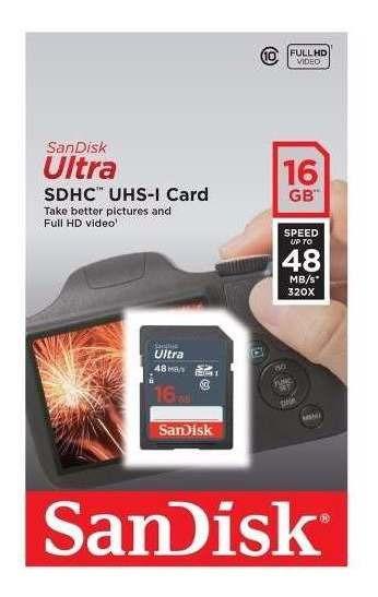 Kit 2x Cartão Memória Sd Sdhc Sandisk 16gb 48mb/s Classe 10