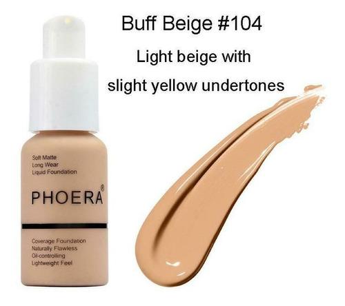 Base Maquillaje Liquido Profesional Phoera, 104 Buff