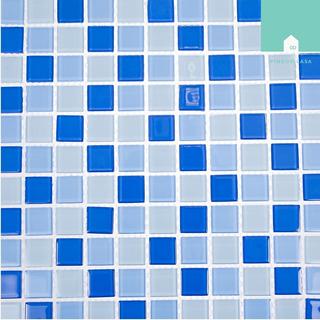 Pastilha De Vidro Cristal Mix Azul Piscina