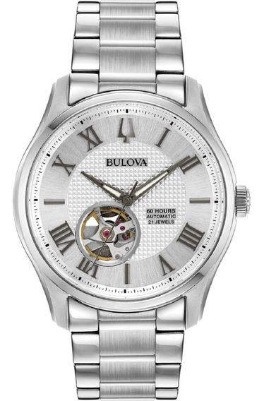 Relógio Bulova Masculino Automático 96a207 Esqueleto Aço