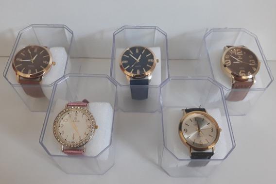 Kit C/10 Relógios Feminino Couro+caixas Atacado Revenda Lote