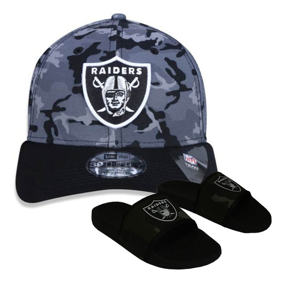 Kit Boné New Era + Chinelo Camuflado Oakland Raiders Nfl