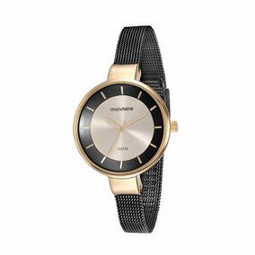 Mondaine Relógio Bracelete Malha De Aço Preto