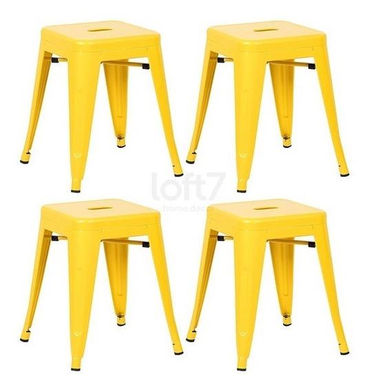 4 Bancos Baixo Tolix Iron 45 Cm Iron Cozinha Aço Amarelo