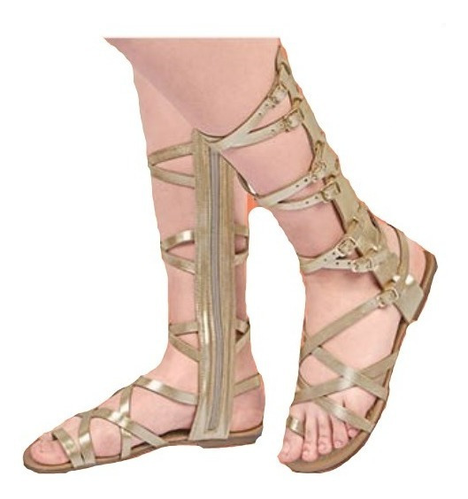 Calzado Zapato Dama Mujer Color Oro Tiras En Pierna