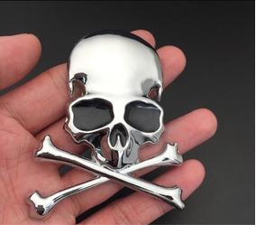 Adesivo Skull Caveira 3d Emblema Carro Moto Metal