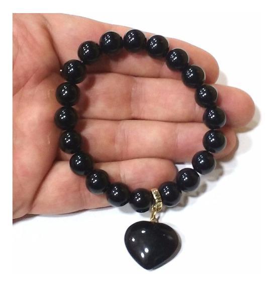 Pulseira De Obsidiana Negra Pedra Natural De Ótima Qualidade