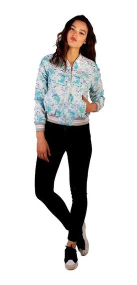 Bomber Mujer Campera Estampada Colores Acuarela Turquesa
