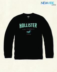 Camisa Manga Longa Preta Hollister