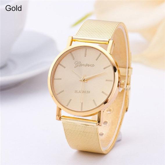 Relógio Feminino Pulso Geneva Dourado Pulseira Malha R32