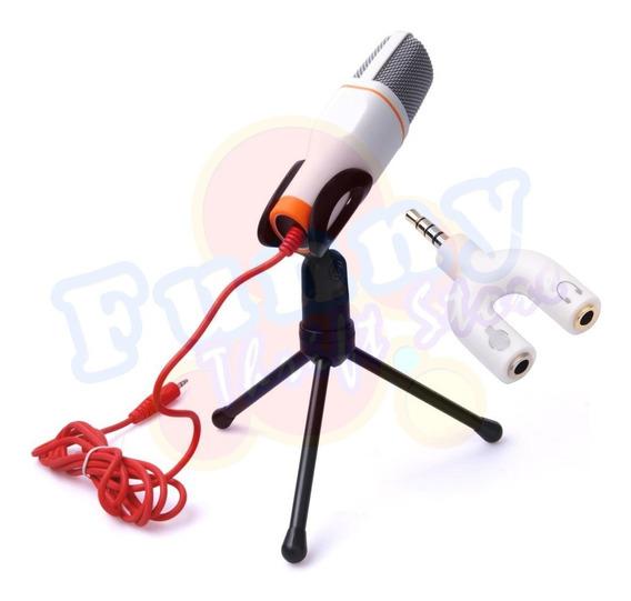 Microfone Condensador Com Fio Grátis Adaptador P3