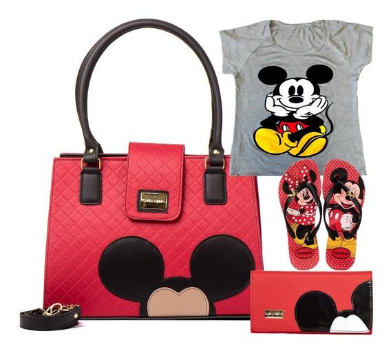 Kit Bolsas Femininas Mickey Transversal Vermelho