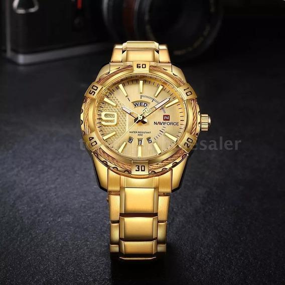 Relógio Masculino Original Analógico Pulseira Em Aço Dourado