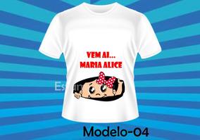 Camiseta Grávida Gestante Personalizada Divertida Menina