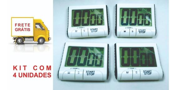 Kit C 4 Cronômetros Digital De Cozinha Com Timer Sonoro