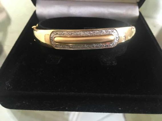 Bracelete Em Ouro Com Detalhes Em Ródio Brilhantes