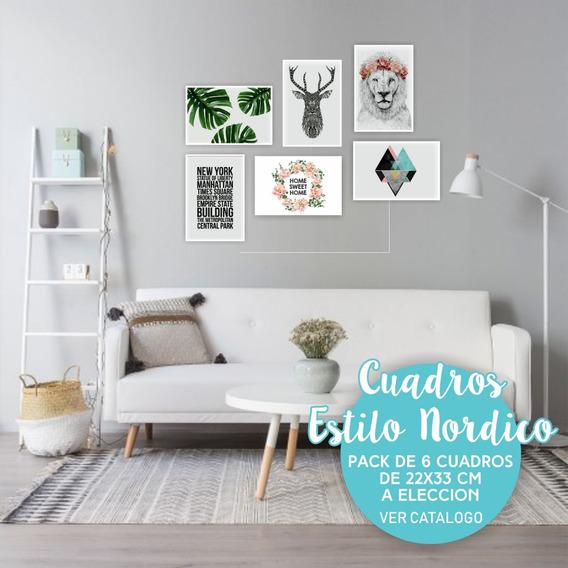 Cuadros Nórdicos Decorativos Modernos Oferta X6 Un 33x22 Cm