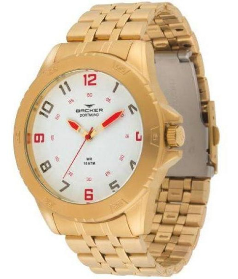 Relógio Masculino Backer Dortmund 6402175m Br Dourado
