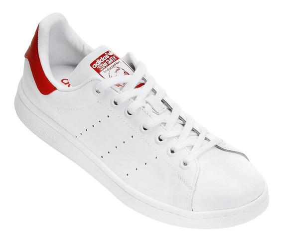 Tênis adidas Stan Smith Branco E Vermelho Original Promoção