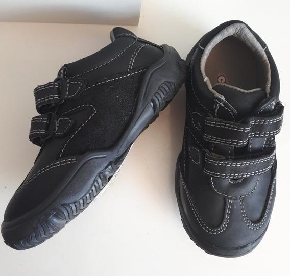 Zapato Tenis Negro Escolar Niño Con Velcro