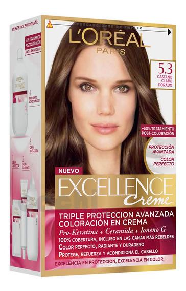 Tinta Loreal Excellence Creme Castaño Claro Dorado 5.3